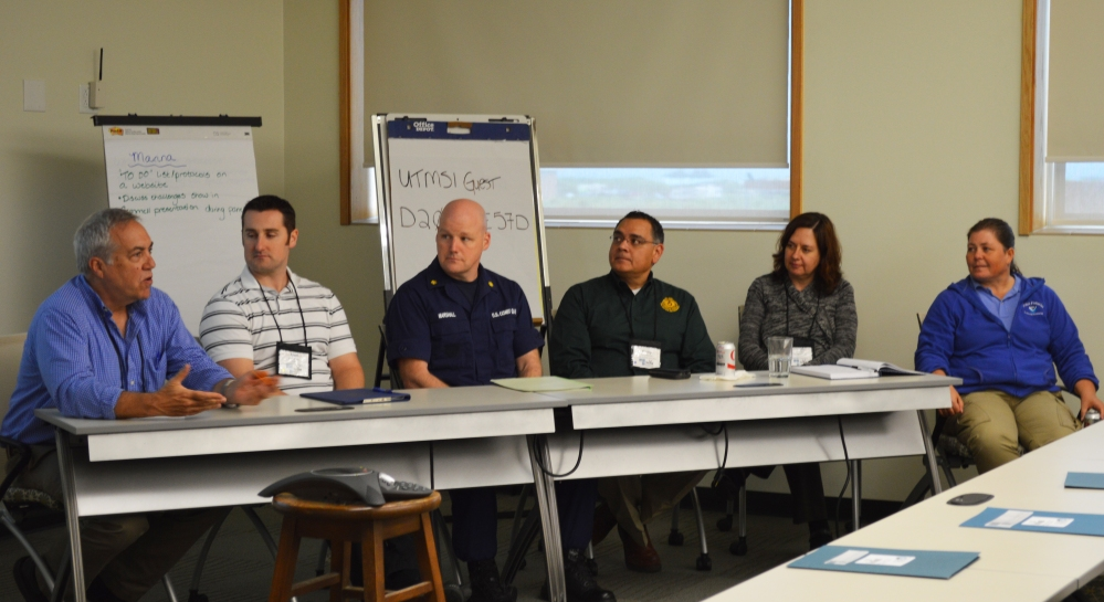 From left to right: Dr. Buskey, Dr. Gemmell, Lt. Marshall, Jimmy Martinez, Dr. Quigg, and Paige Doelling. Credit: University of TX